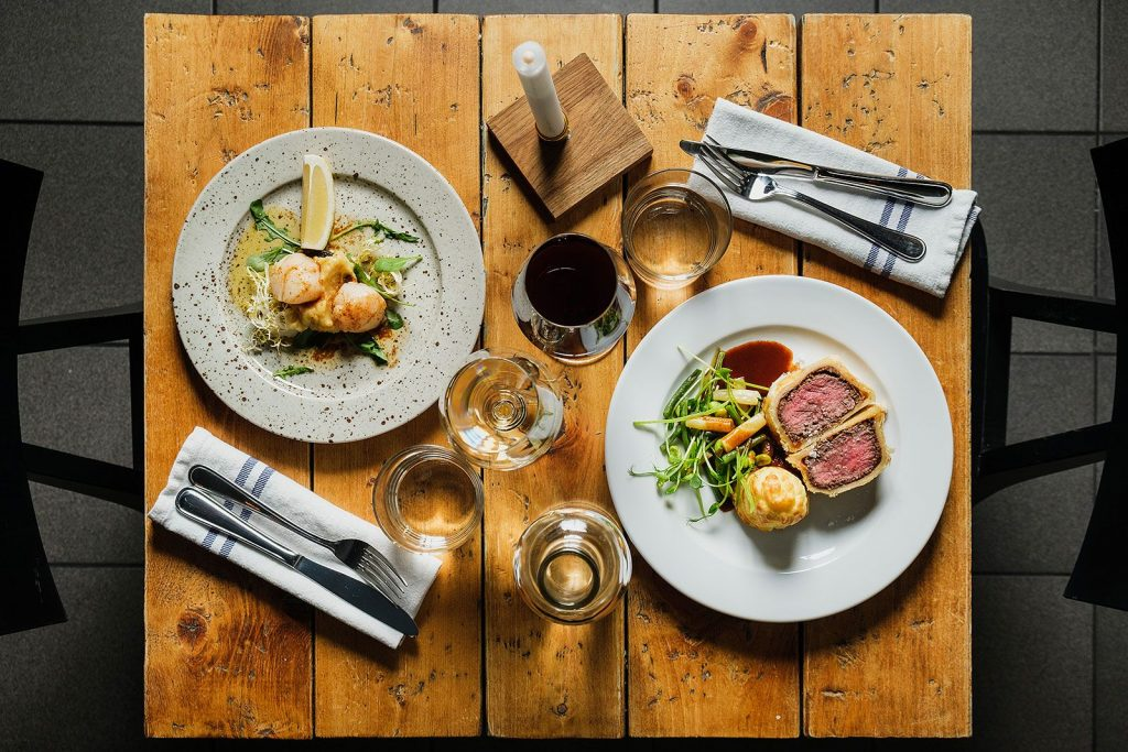Beef Wellington and Scallops with Black Pudding