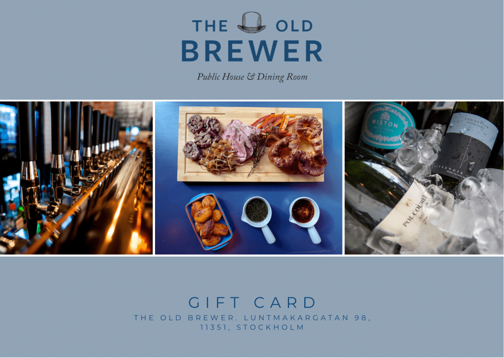 Digital gift cards from the Old Brewer, Stockholm